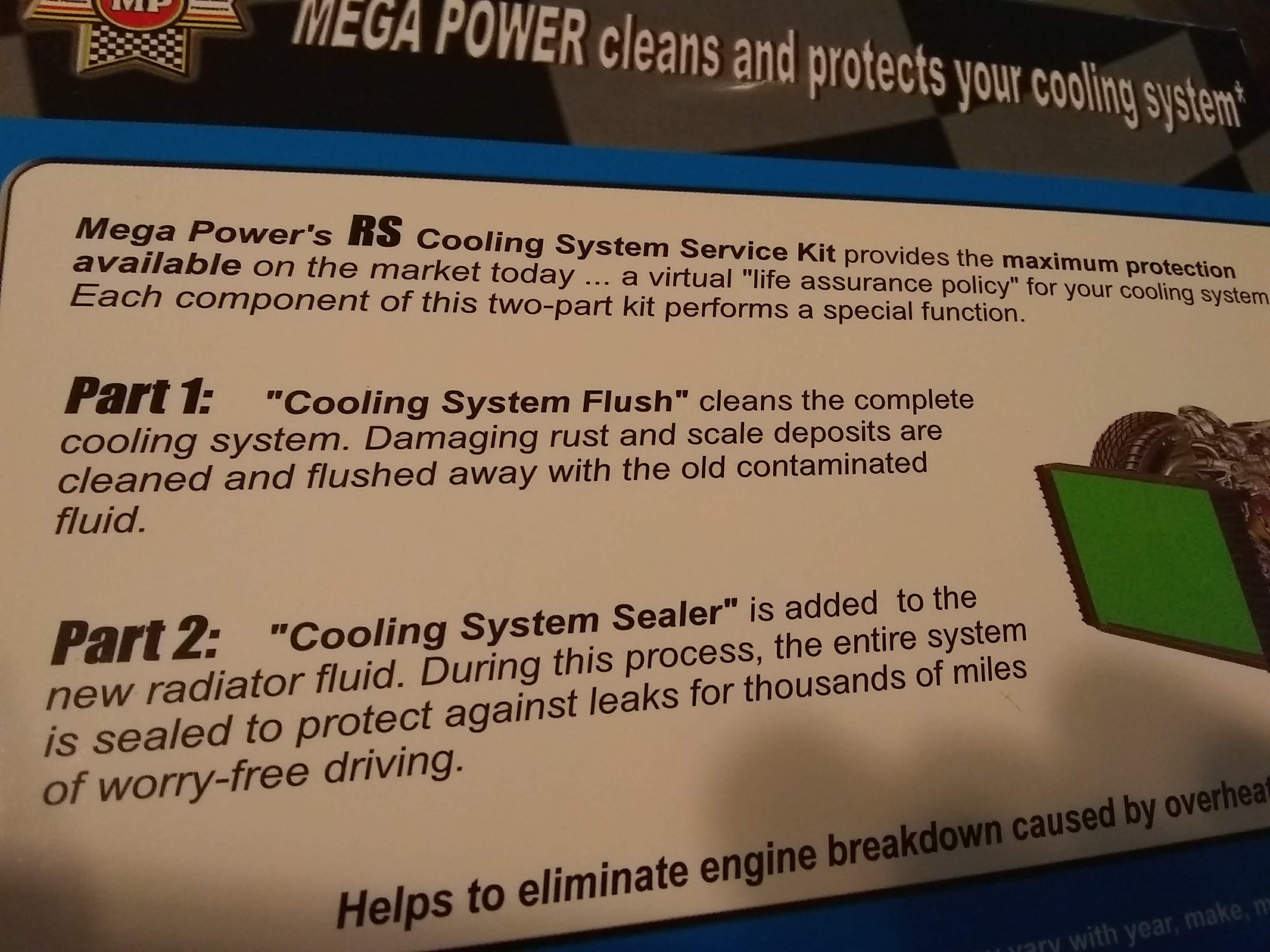 Radiator problem solver: Stops leaks  Reduces Overheating